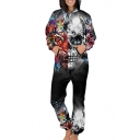 3D Skull Lion Printed Long Sleeve Loose Hooded Jumpsuit