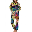 Geometric Cartoon Monster Printed Long Sleeve Leisure Hooded Jumpsuit