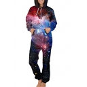 Fancy Galaxy Printed Long Sleeve Hooded Jumpsuit