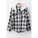 Contrast Hood Plaid Printed Button Front Long Sleeve Hooded Shirt