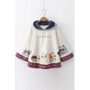 LOVELY CAT Letter Animal Printed Loose Hooded Cape
