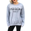 Star Letter Print Round Neck Long Sleeve Sweatshirt