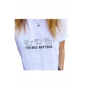 Lovely Animal FRIENDS NOT FOOD Letter Printed Round Neck Short Sleeve Tee