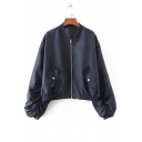 Plain Stand Up Collar Gather Detail Long Sleeve Zip Up Straps Embellished Cropped Bomber Jacket
