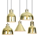 Parisian Brass Finish Industrial Style Single Hanging Pendant for Cafe Restaurant Five Designs Available
