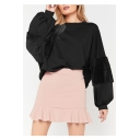 Round Neck Plush Patchwork Long Sleeve Cropped Sweatshirt