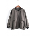 Contrast Trim Collarless Concealed Zip Closure Batwing Sleeve Loose Jacket