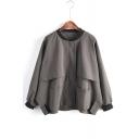 Contrast Trim Collarless Concealed Zip Closure Batwing Sleeve Loose Jacket