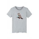 Cute Squirrel Print Round Neck Short Sleeve T-Shirt