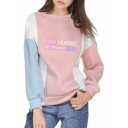 LOVE YOURSELF Letter Printed Color Block Round Neck Long Sleeve Sweatshirt