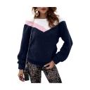 Warm Plush Color Block Round Neck Long Sleeve Sweatshirt
