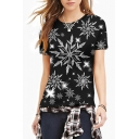 Snowflake All Over Printed Round Neck Short Sleeve T-Shirt