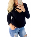 Hollow Out Front V Neck Long Sleeve Slim Sweater