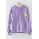Graphic Embroidered Applique Long Sleeve Hoodie with Kangaroo Pocket