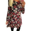 Floral Skull All Over Print Round Neck Long Sleeve Midi A-Line Dress