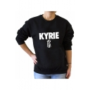 KYRIE Letter Print Round Neck Long Sleeve Pullover Sweatshirt
