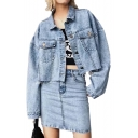Lapel Collar Button Front Long Sleeve Raw Hem Cropped Denim Jacket
