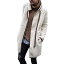 Stand Collar Contrast Trim Patch Zip Placket Long Sleeve Plush Coat