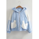 Color Block Letter Print Bear Pattern Pockets Raglan Sleeve Hooded Jacket