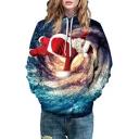 Santa Claus Galaxy Printed Long Sleeve Hoodie