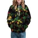 Christmas Tree Printed Long Sleeve Hoodie