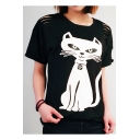 Cut Out Detail Cat Printed Round Neck Short Sleeve Tee