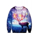 Lamp Crown Deer Printed Printed Round Neck Long Sleeve Sweatshirt