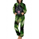 Palm Cat Printed Long Sleeve Unisex Hooded Jumpsuit
