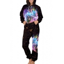 Cool Galaxy Printed Long Sleeve Hooded Jumpsuit