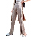 High Waist Ribbed Patchwork Slim Split Hem Leisure Pants