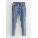 Plain Button Fly Rolled Cuff Slim Tapered Jeans