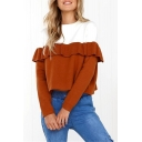 Color Block Ruffle Detail Round Neck Long Sleeve Cropped Sweatshirt