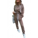 Sports Plain Long Sleeve Hoodie with Loose Drawstring Waist Pants Co-ords