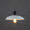 White Wrought Iron Retro Style Wide Shade Industrial Pendant Lights