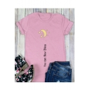 YOU CAN Letter Moon Printed Round Neck Short Sleeve T-Shirt