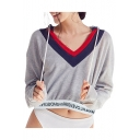 Letter Trim Color Block Long Sleeve Cropped Sports Hoodie