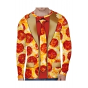 Pizza All Over Blazer Pattern Round Neck Long Sleeve T-Shirt