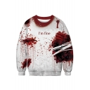 D I'M FINE Letter Wound Printed Round Neck Long Sleeve Sweatshirt