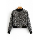 Leopard Printed Stand Up Collar Long Sleeve Zip Closure Jacket