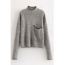 Contrast Trim High Neck Long Sleeve Sweater