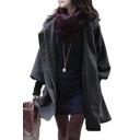 Loose Rib Knit Cuffs Long Sleeve Concealed Zip Placket Drawstring Waist Hooded Wool Coat
