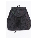 Chic Geometric PU Leather Backpack School Bag