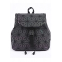 Buckle Straps Drawstring Fastening Geometric PU Leather Backpack