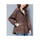 Plain Drawstring Waist Zip Placket Long Sleeve Hooded Jacket