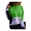 Color Block Round Neck Long Sleeve Casual Pullover Sweatshirt