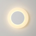 Convertible To Pin-Up Hardwire Modern LED Sconces 9W Acrylic LED Ambient Disc Wall Light Fixture in White Finish 10.43 Inch Wide