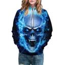 Cool Skull Fire Print Long Sleeve Unisex Hoodie