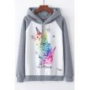 Color Block Raglan Sleeve Lovely Cat Letter Print Casual Hoodie