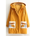 CHEESE Letter Embroidered Applique Contrast Striped Long Sleeve Concealed Zip Placket Hooded Coat