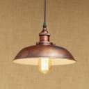 Bare Bulb Dark Rust Finish Vintage Pendant Lamp with Inner White Shallow Round Shade 10.24
